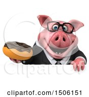 Poster, Art Print Of 3d Chubby Business Pig Holding A Donut On A White Background