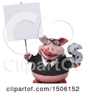 3d Chubby Business Pig Holding A Dollar Sign On A White Background