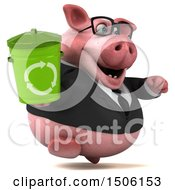 Poster, Art Print Of 3d Chubby Business Pig Holding A Recycle Bin On A White Background