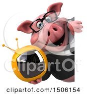 Poster, Art Print Of 3d Chubby Business Pig Holding A Tv On A White Background