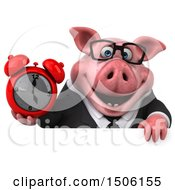 Poster, Art Print Of 3d Chubby Business Pig Holding An Alarm Clock On A White Background