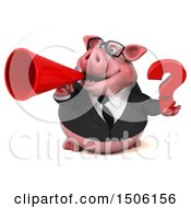 Poster, Art Print Of 3d Chubby Business Pig Holding A Question Mark On A White Background