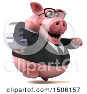Poster, Art Print Of 3d Chubby Business Pig Holding A Euro On A White Background