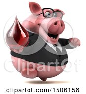 Poster, Art Print Of 3d Chubby Business Pig Holding A Blood Drop On A White Background