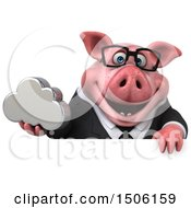 3d Chubby Business Pig Holding A Cloud On A White Background
