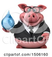Poster, Art Print Of 3d Chubby Business Pig Holding A Water Drop On A White Background