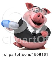 Poster, Art Print Of 3d Chubby Business Pig Holding A Pill On A White Background