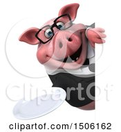 3d Chubby Business Pig Holding A Plate On A White Background