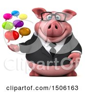 Poster, Art Print Of 3d Chubby Business Pig Holding Messages On A White Background
