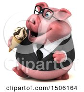 3d Chubby Business Pig Eating A Waffle Cone On A White Background