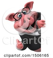 Poster, Art Print Of 3d Chubby Business Pig Holding A Thumb Up On A White Background