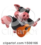 3d Chubby Business Pig Holding A Guitar And Thumb Down On A White Background