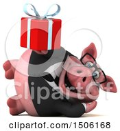 Poster, Art Print Of 3d Chubby Business Pig Holding A Gift On A White Background
