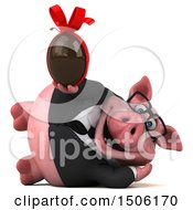 3d Chubby Business Pig Holding A Chocolate Egg On A White Background