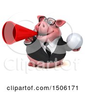 Poster, Art Print Of 3d Chubby Business Pig Holding A Golf Ball On A White Background