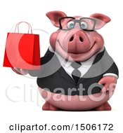 3d Chubby Business Pig Holding A Shopping Bag On A White Background