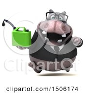 3d Business Hippo Holding A Gas Can On A White Background