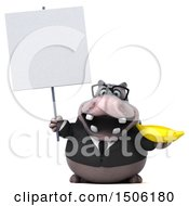 Poster, Art Print Of 3d Business Hippo Holding A Banana On A White Background