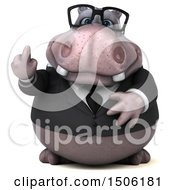 3d Business Hippo Holding Up A Middle Finger On A White Background