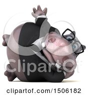 3d Business Hippo Waving On A White Background