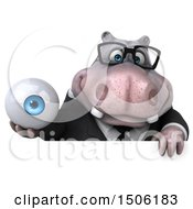 3d Business Hippo Holding An Eyeball On A White Background