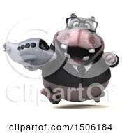 3d Business Hippo Holding A Plane On A White Background