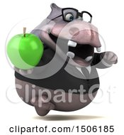 3d Business Hippo Holding An Apple On A White Background