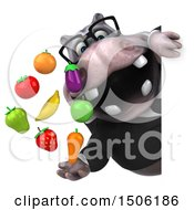 Poster, Art Print Of 3d Business Hippo Holding Produce On A White Background