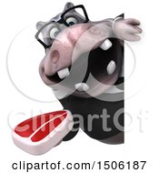 Poster, Art Print Of 3d Business Hippo Holding A Steak On A White Background