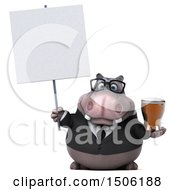 3d Business Hippo Holding A Beer On A White Background