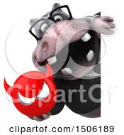 3d Business Hippo Holding A Devil On A White Background