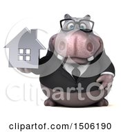 3d Business Hippo Holding A House On A White Background