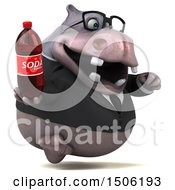 3d Business Hippo Holding A Soda On A White Background