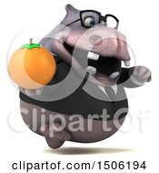 3d Business Hippo Holding An Orange On A White Background