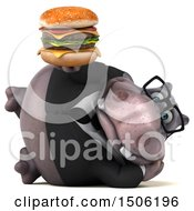Poster, Art Print Of 3d Business Hippo Holding A Burger On A White Background
