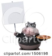 3d Business Hippo Holding A Pizza On A White Background