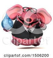3d Pink Business Elephant Holding A Water Drop On A White Background