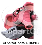 Poster, Art Print Of 3d Pink Business Elephant Holding A Plane On A White Background
