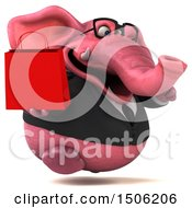 3d Pink Business Elephant Holding A Shopping Bag On A White Background