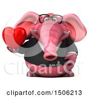Poster, Art Print Of 3d Pink Business Elephant Holding A Heart On A White Background