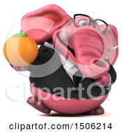 3d Pink Business Elephant Holding An Orange On A White Background