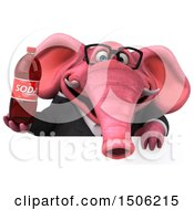 3d Pink Business Elephant Holding A Soda On A White Background