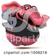 3d Pink Business Elephant Holding A Dollar Sign On A White Background