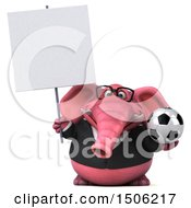 3d Pink Business Elephant Holding A Soccer Ball On A White Background