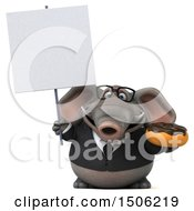 3d Business Elephant Holding A Donut On A White Background