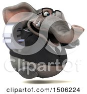 Poster, Art Print Of 3d Business Elephant Holding A Euro On A White Background