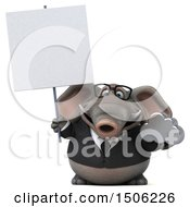 3d Business Elephant Holding A Cloud On A White Background