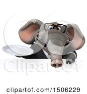 3d Business Elephant Holding A Plate On A White Background
