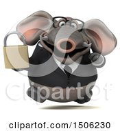 3d Business Elephant Holding A Padlock On A White Background