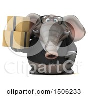 3d Business Elephant Holding Boxes On A White Background